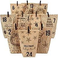 Papierdrachen Adventskalender - Bedruckte Tüten Packpapier - Klassische Weihnachtsmotive mit schwarzen Klammern - Set 12