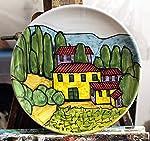 Paesaggio Toscano-Piatto di ceramica decorato a mano dimensioni cm 20,6 e alto cm 2,8 -MADE in ITALY Toscana Lucca...