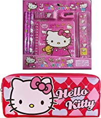 WonderKart® 7 in 1 Stationery & Birthday Return Gift Set with Stationery Pouch/ Pencil Case - Pink