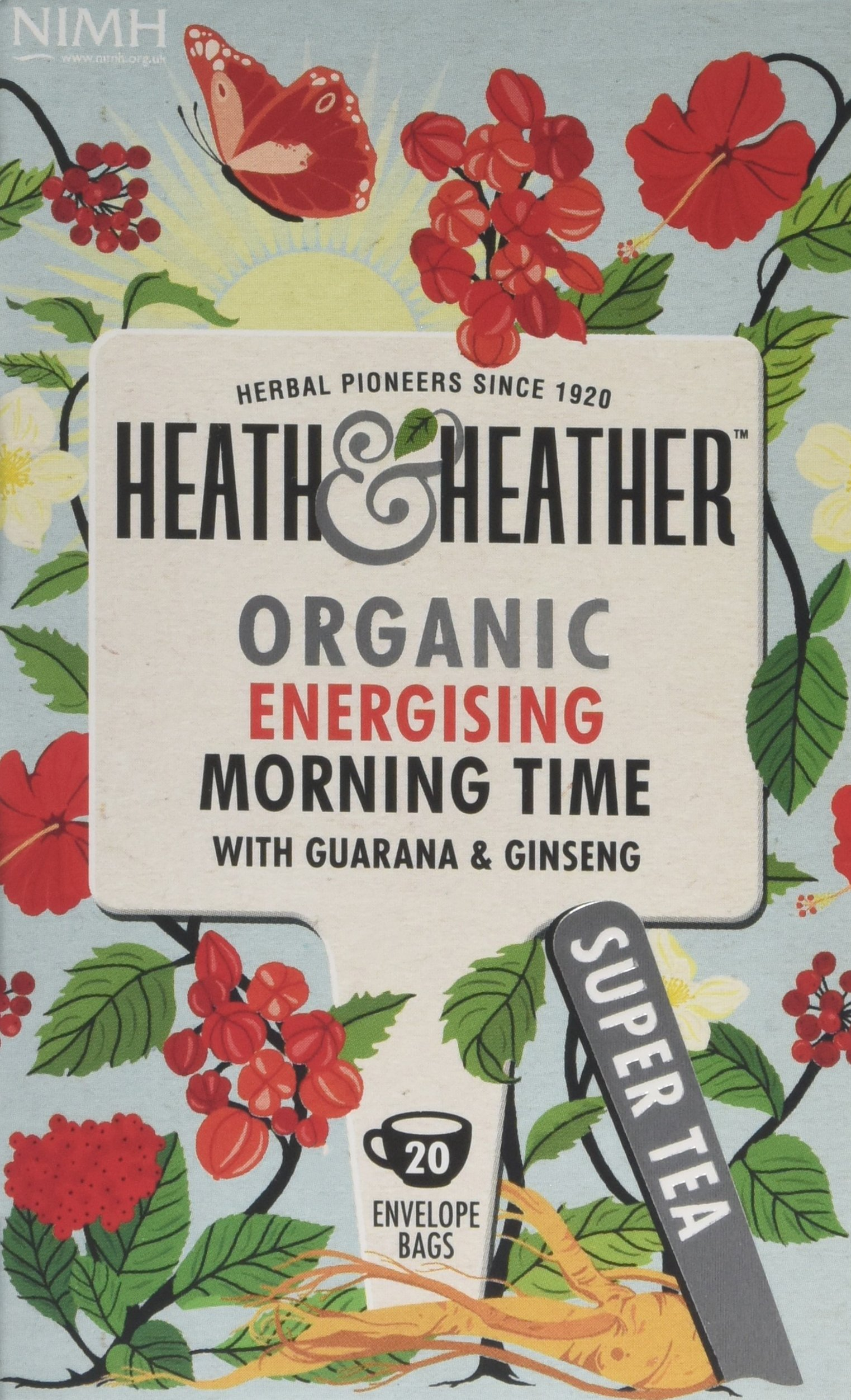 Heath & Heather health tea tea bundle (soil association) (infusions) (6 packs of 20 bags) (120 bags) (a floral, spicy tea with aromas of ginseng, guarana, rosehip) (brews in 3-5 minutes)