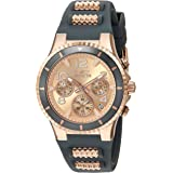 Invicta Women's BLU 39mm Rose Gold Tone Stainless Steel and Silicone Chronograph Quartz Watch, Rose Gold/Black (Model: 24189)