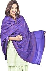 Weavers Villa - Women's Woolen Woven Purple Shawls , Stoles