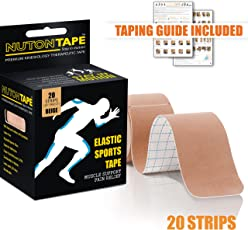NUTONTAPE Kinesiology Sports Tape / 20 Strips 10 inch Precut (Beige) - 5m x 5cm / Breathable, Water Resistant & Superior Adhesive/Taping Guide Included