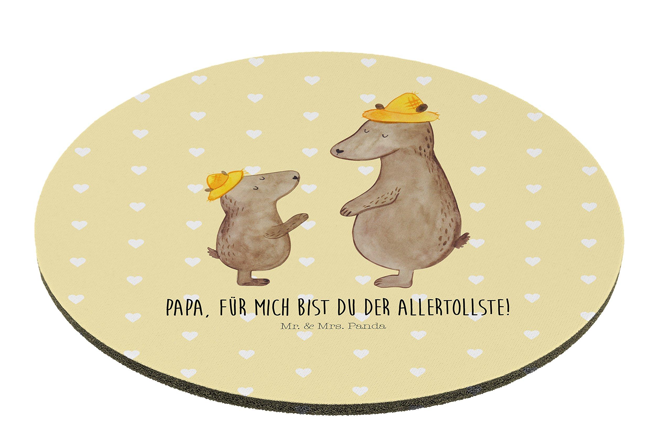 Mr. & Mrs. Panda Maus, Schreibtisch, Rund Mauspad Bären mit Hut mit Spruch - Farbe Gelb Pastell