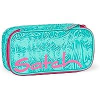 Satch Schlamperbox Aloha Mint, Mäppchen mit extra viel Platz, Trennfach, Geodreieck, Grau