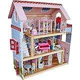 KidKraft 65054 Casa de muñecas de madera Chelsea Doll Cottage para muñecas de 12 cm con 16 accesorios incluidos y 3 niveles d