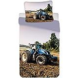BrandMac Parure de Lit Tracteur Bleu 100% Coton - Housse de Couette 140x200 cm + Taie d'oreiller 65x65 cm
