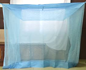 PF RECOMMENDED POLY COTTON Cali net Mosquito Net for single bed 3 * 6 (Blue)
