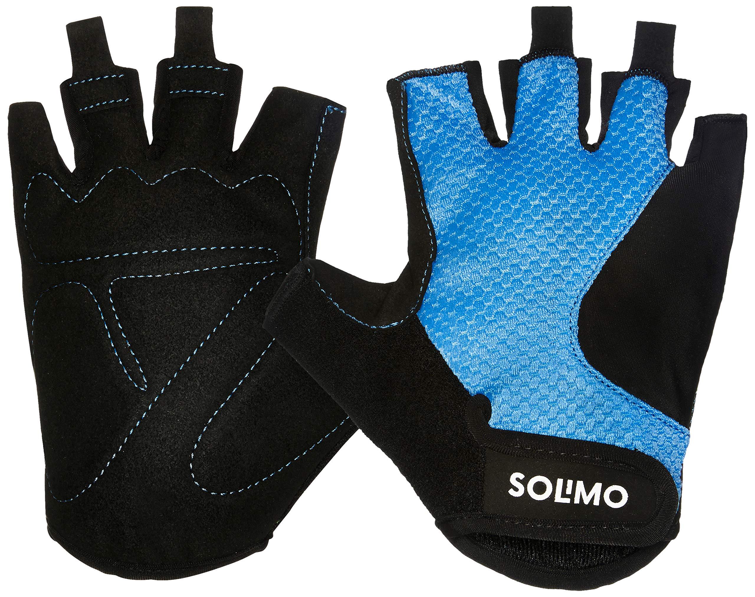 3cbd7734af87e Solimo Gym Gloves (Large), Black/Blue | Exercise and Fitness, Gloves ...