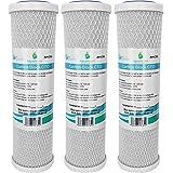 3x AquaHouse AH-CTO5 Cartouches de filtre à eau en bloc de carbone de 10 po pour eau potable, systèmes d'osmose inverse, s'ad
