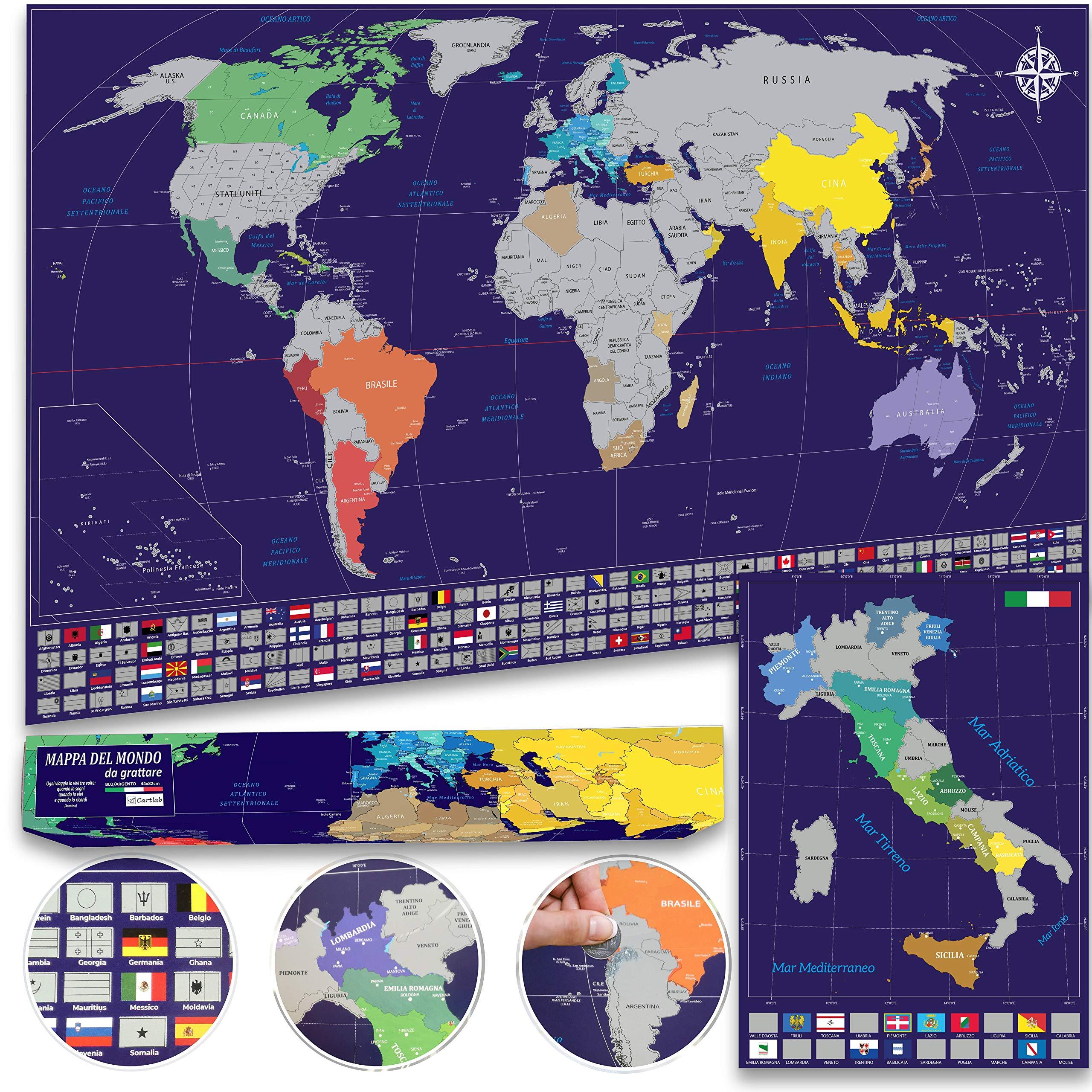 Cartina Mondo Gratta.Cartlab Poster Mappa Del Mondo Mappa Italia Da Grattare Con Bandiere Le Piu Aggiornate E Dettagliate Scatola Regalo Inclusa Idea Regalo Blu Argento Faceshopping