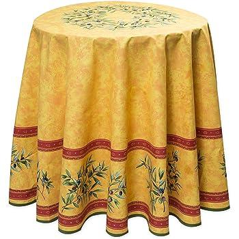 abwaschbare tischdecke rund ca 180 cm mausanne jaune acrylbeschichtet k che haushalt. Black Bedroom Furniture Sets. Home Design Ideas