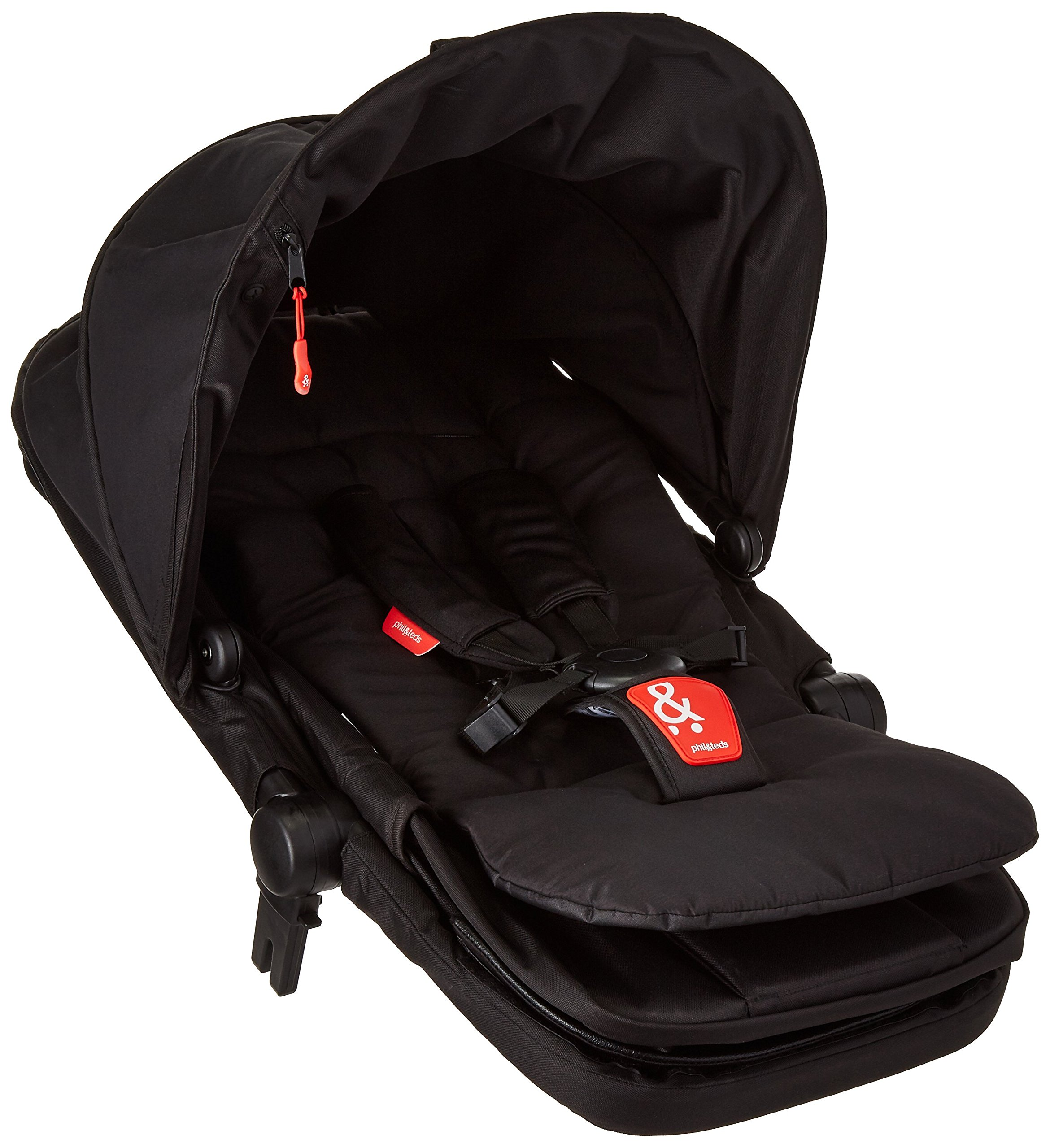 phil&teds Voyager Buggy Pushchair, Black phil&teds 4-in-1 modular seat! the most adaptable seat yet with four modes, parent facing, forward facing, lie Revolutionary stand fold with 2 seats on. Adjustable handlebar with hand-mounted brake Double kit easily converts to lie flat mode as well. 6