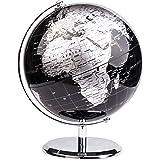 Exerz Världsglob (dia 20 cm) – utbildnings-/geografisk/modern skrivbordsdekoration – med metallbas – metallisk svart (diamete