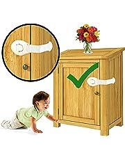 KidDough Furniture Safety Locks for Kids (21x5cm, White) - 10 Pcs