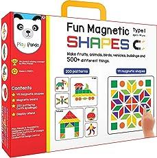 Play Panda Fun Magnetic Shapes (Junior): Type 1 with 44 Magnetic Shapes, 164 Pattern Book, Magnetic Board and Display Stand