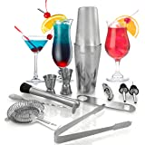 Kitchen Joy Cocktail Shaker Set, Professional Stainless Steel Bar Kit with 25 Ounce Boston Shaker Tin for Drink Mixing (12 Pieces)