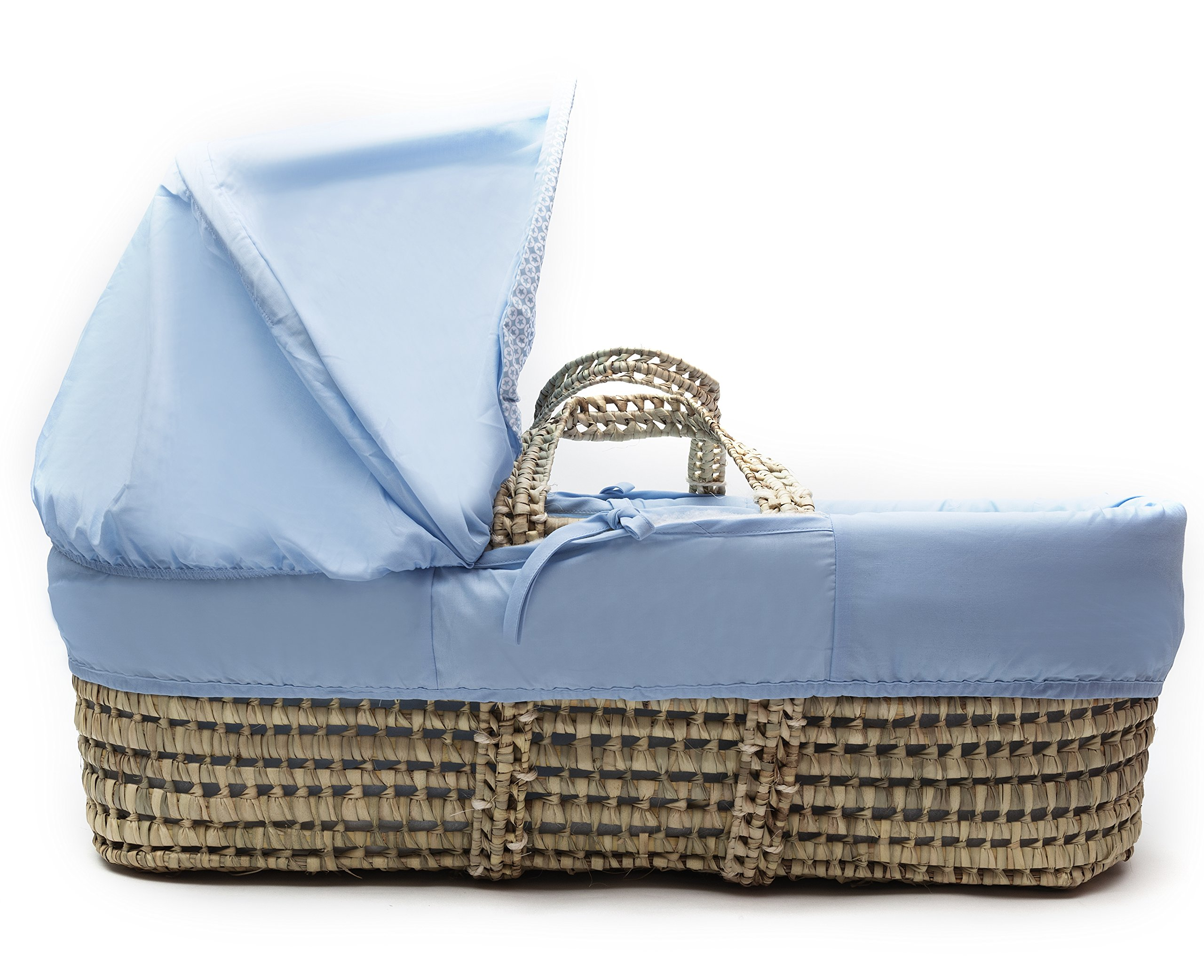 Kinder Valley Tiny Ted Moses Basket_Blue  Suitable from new-born to 6 months or up to 9kg. This Tiny Ted bedding is made from easy care poly-cotton. Washable, water resistant and breathable mattress. 2