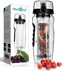 AquaFrut 32 oz Fruit Infuser Water Bottle (Multiple Colors) BPA-Free Fruit Infusion Sports Bottle - Flip Top Lid w Drinking Spout, Leak Proof, Made of Durable Tritan. Free Recipe eBook!