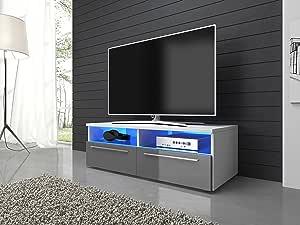 Meuble TV Armoire Support Vannes Blanc mat/Gris brillant 100cm avec LED