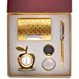 Celebr8 4 in 1 Golden Corporate Gift Set with Apple Clock, Crystal Pen, Business Card Holder & Keychain
