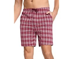 Irevial Men's Pyjama Shorts Cotton Bottoms Casual Trousers Nightwear Sleepwear Lounge Pants with Pockets Drawstring