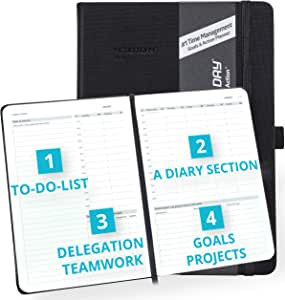 2020-2021 Weekly/Monthly Planner by Action Day - All-in-ONE Layout Design,to Do Lists,Goals,Projects,Dated Diary/Calendar, Time Management - Makes It Easy for You to Get Things Done, 6x8, Black