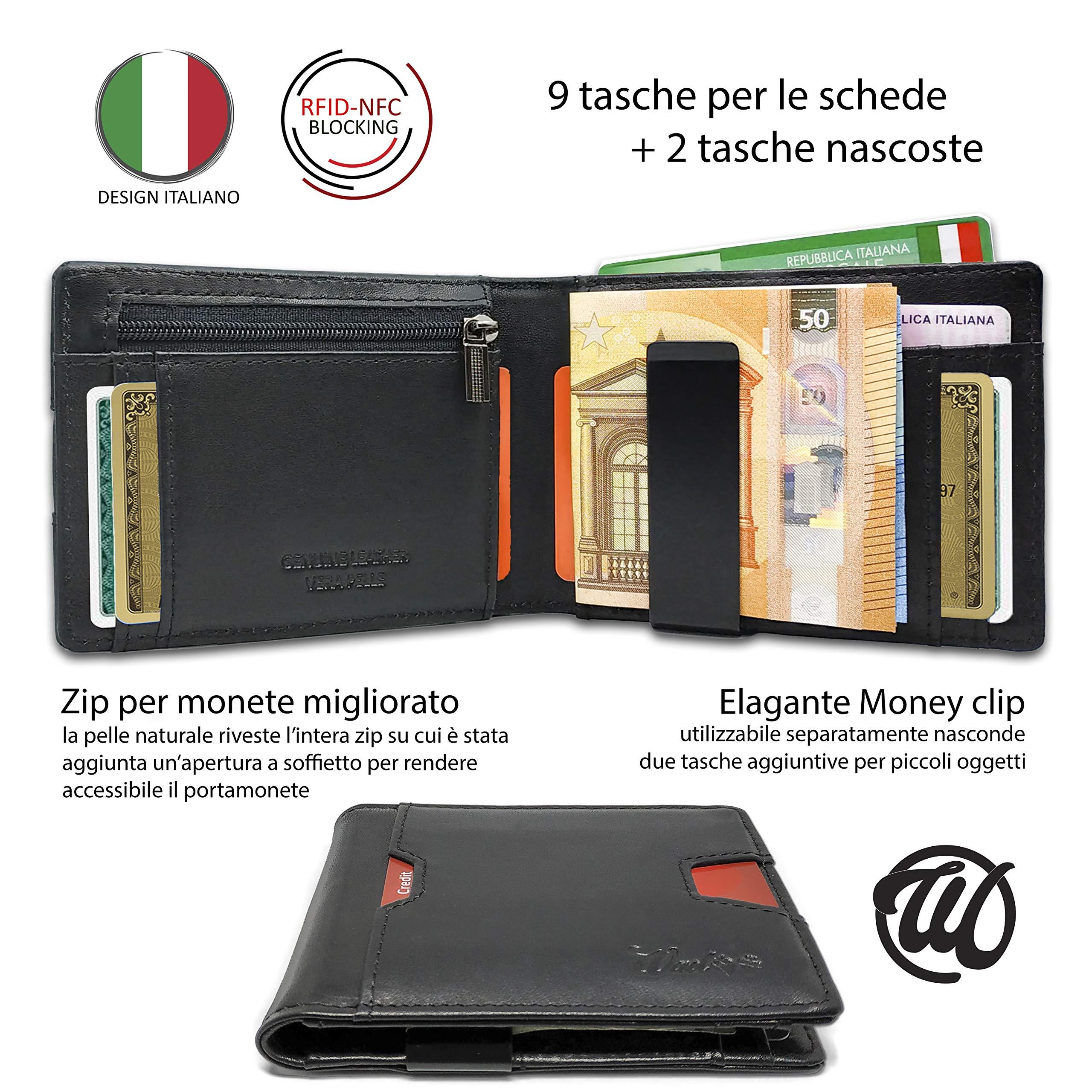 Portafoglio Uomo Piccolo Vera Pelle Intelligente Protezione RFID-NFC ... a4bced918dc1