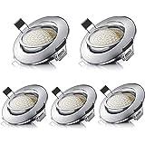 LED Spots Encastrables Orientable Rond 5W Ultraslim Blanc Chaud 3000K 470LM 230V IP44 éclairage plafond encastré pour salle d