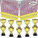 FEPITO Trofee medailles set 10 stuks goud kunststof trophy cups en 20 stuks winnende medailles voor Kid Party Sports Awards