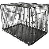 TRESKO® Transportkäfig Hundebox für Hunde, Katzen, Welpen und Haustiere in verschiedenen Größen, Drahtkäfig, Hundekäfig, Auto-Transportbox, schwarz, mit 2 Türen, faltbar