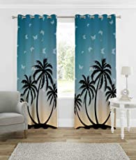 B7 Creations 1-Piece Polyester Knitted Peacock Digital Print Curtain