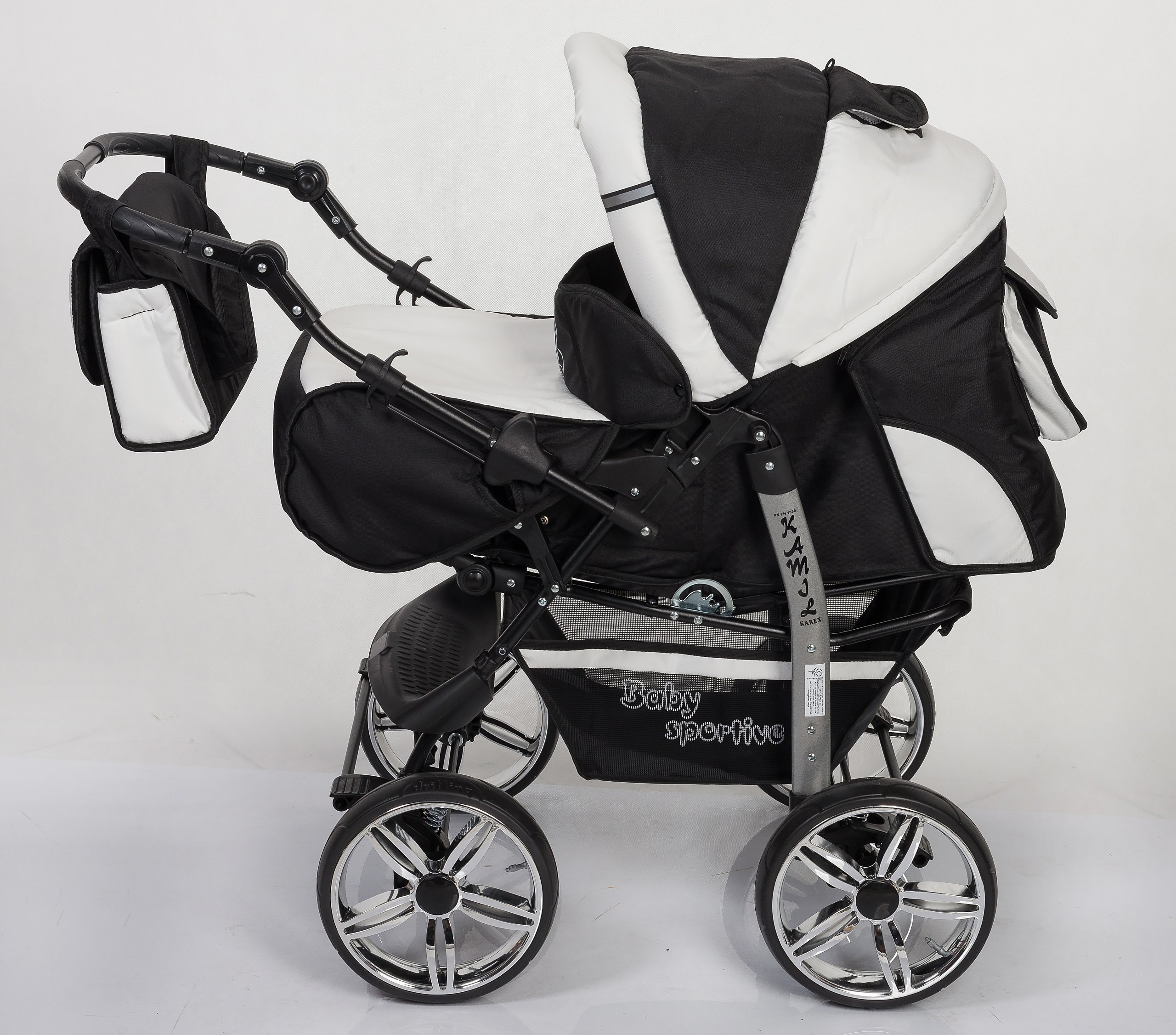 3-in-1 Travel System with Baby Pram, Car Seat, Pushchair & Accessories, Black & White   2