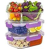 Boîte en Verre de qualité supérieure | Boîte à Lunch avec Compartiments | Lot de 3 1050 ML | Couverture améliorée | Boîte à L