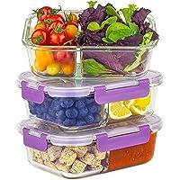 Home Planet Lot de 3 boîtes à repas en verre avec 2 compartiments - 1050 ml - Sans emballage en plastique - Récipients…
