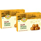 Dhampure Speciality Gur Besan Laddu Ladoo Indian Sweets - Desi Ghee Based, 1Kg (Pack of 2 - 500g Each)