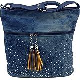 Süße Jeans Style Umhängetasche mit 2 Troddeln und kleinen Steinchen/Nieten - Glitzereffekt - Maße ohne Henkel 29x25x12 cm - D