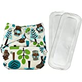 Bumberry Reusable Diaper Cover and 2 Wet Free Inserts (3-36 Months, Trees,)