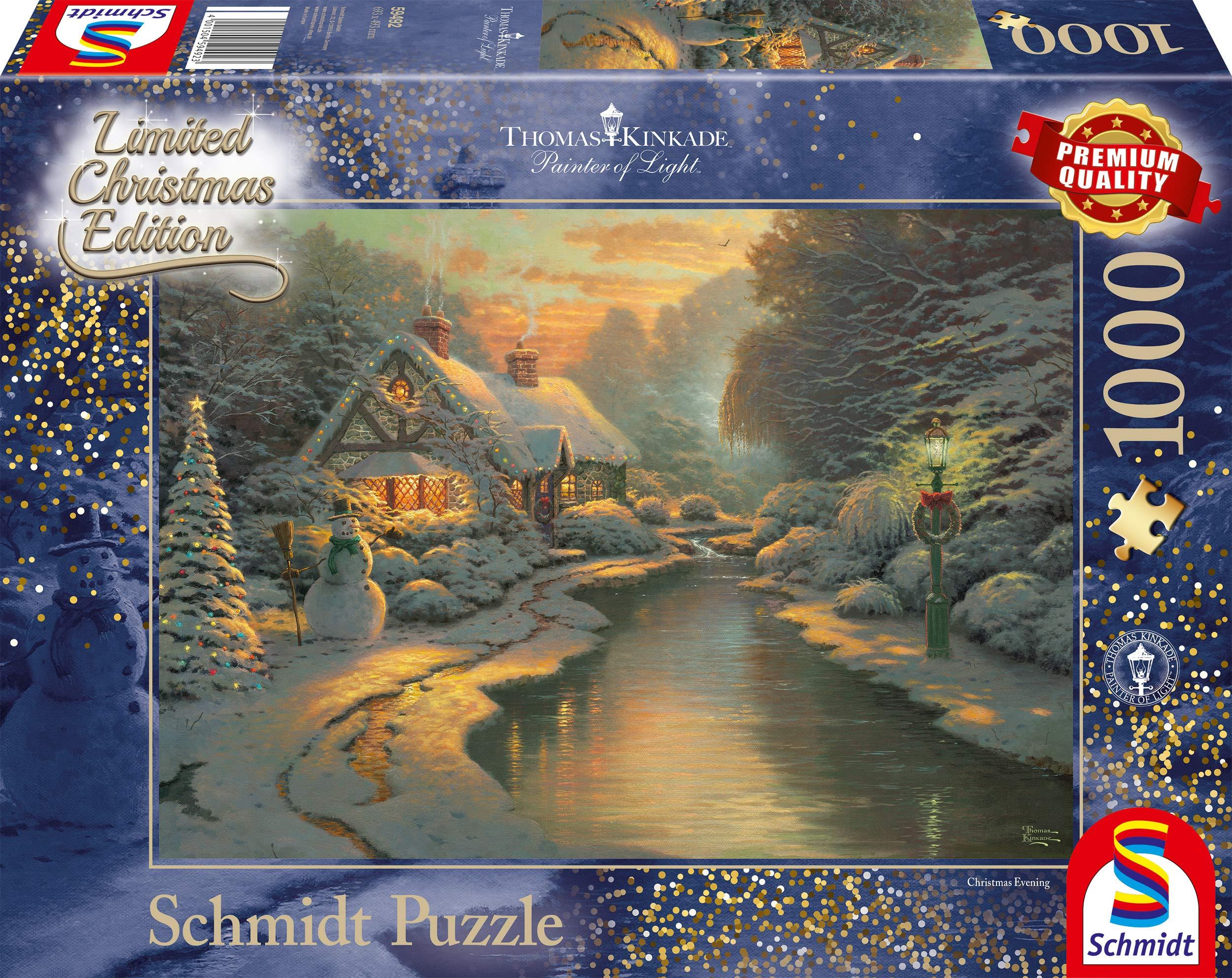 Schmidt-Spiele-Puzzle-59492-Thomas-Kinkade-Am-Weihnachtsabend-Limited-Edition-1000-Teile-bunt