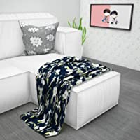 Divine Casa 110 GSM Microfibre Floral Print Reversible Quilted Kids Comforters Kids Blanket for Winter, Blue & Green