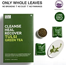 Onlyleaf Tulsi Green Tea, 52 Tea Bags with 2 Free Exotic Samples