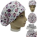 Cappello sala operatoria COCCINELLE ROSA per Capelli Lunghi Asciugamano assorbente sulla fronte facilmente regolabile…