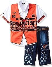 AJ DEZINES Boy's Cotton Shirt with Waistcoat and Shorts