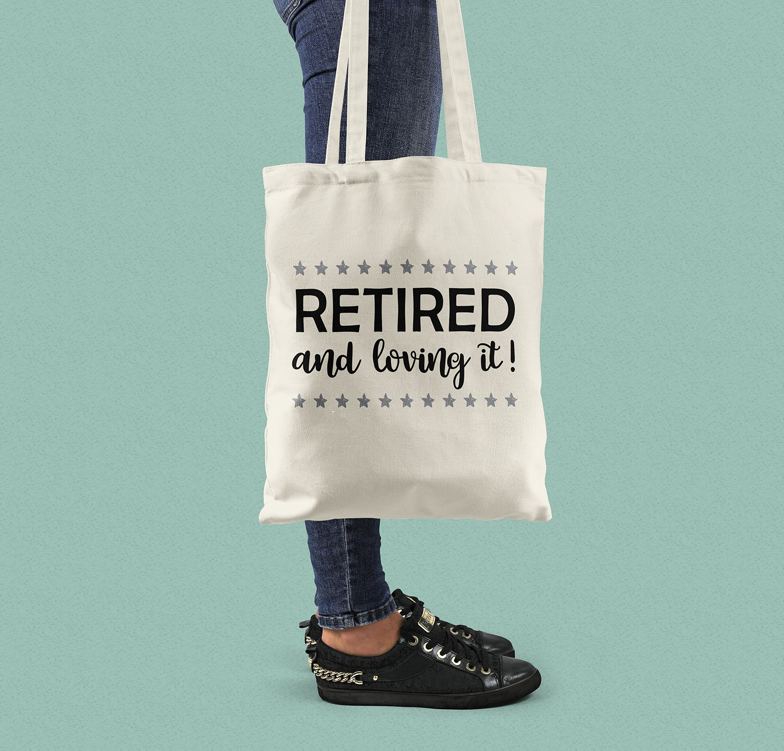 Retirement Gift - Retired and Loving It! Canvas Tote Bag - handmade-bags