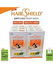 Hairshield Anti Lice Cream Wash 30 Ml X Pack Of 6 = 180 Ml Free Head Lice Comb With Every Pack