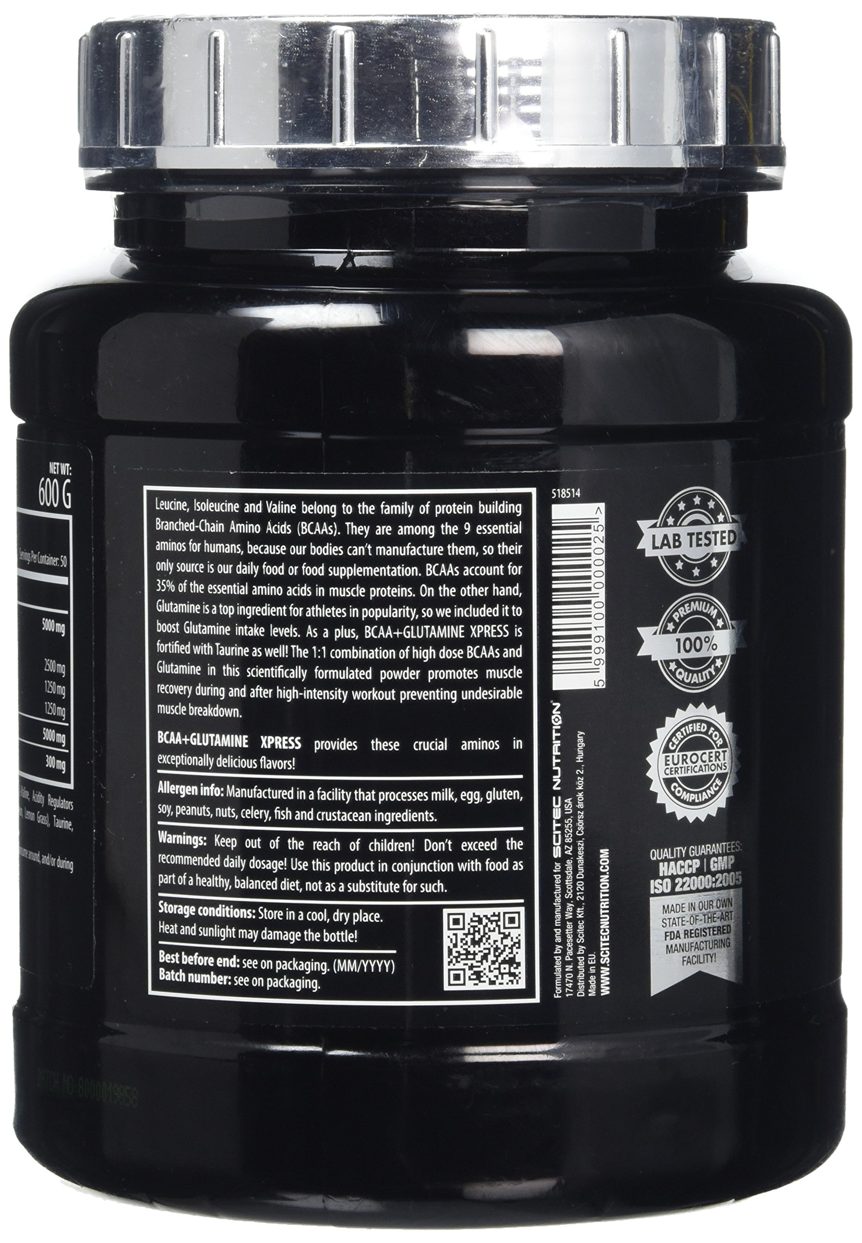 91S5znyjQkL - Scitec Nutrition BCAA + Glutamine Xpress, Fortified with Taurine, Sugar Free, 600 g, Lime