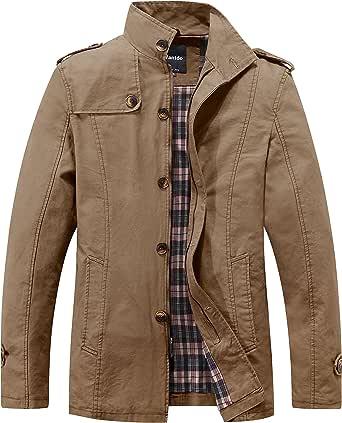 Wantdo Men's Casual Cotton Jacket Outdoor Windproof Jackets Classic Full-Zip Jacket Outdoor Outerwear Coat