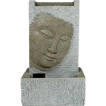 brunnen buddha zimmerbrunnen mit led wohnung entspannung dekoration sandstein optik. Black Bedroom Furniture Sets. Home Design Ideas