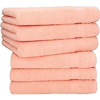 Betz Lot de 6 Serviettes de Toilette Palermo Taille 50x100 cm 100% Coton Plusieurs Couleurs (Abricot)