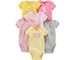 Simple Joys by Carter's Baby Girl's Short Sleeve Cotton Bodysuit, Pack of 6